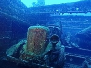 Car in the hold of the Nippo Maru
