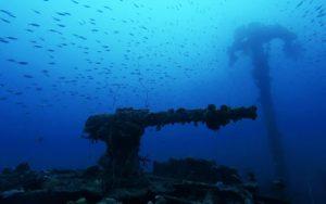 Anti-aircraft gun on stern on the Shotan Maru