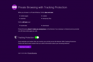 Web browser private browsing mode