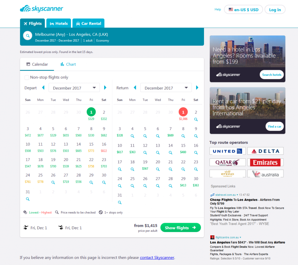 Skyscanner flight prices across a whole month search