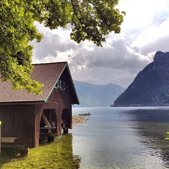 Boathouse on the Traunsee lake
